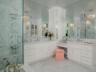 White Spa Bathroom With Pink Stool