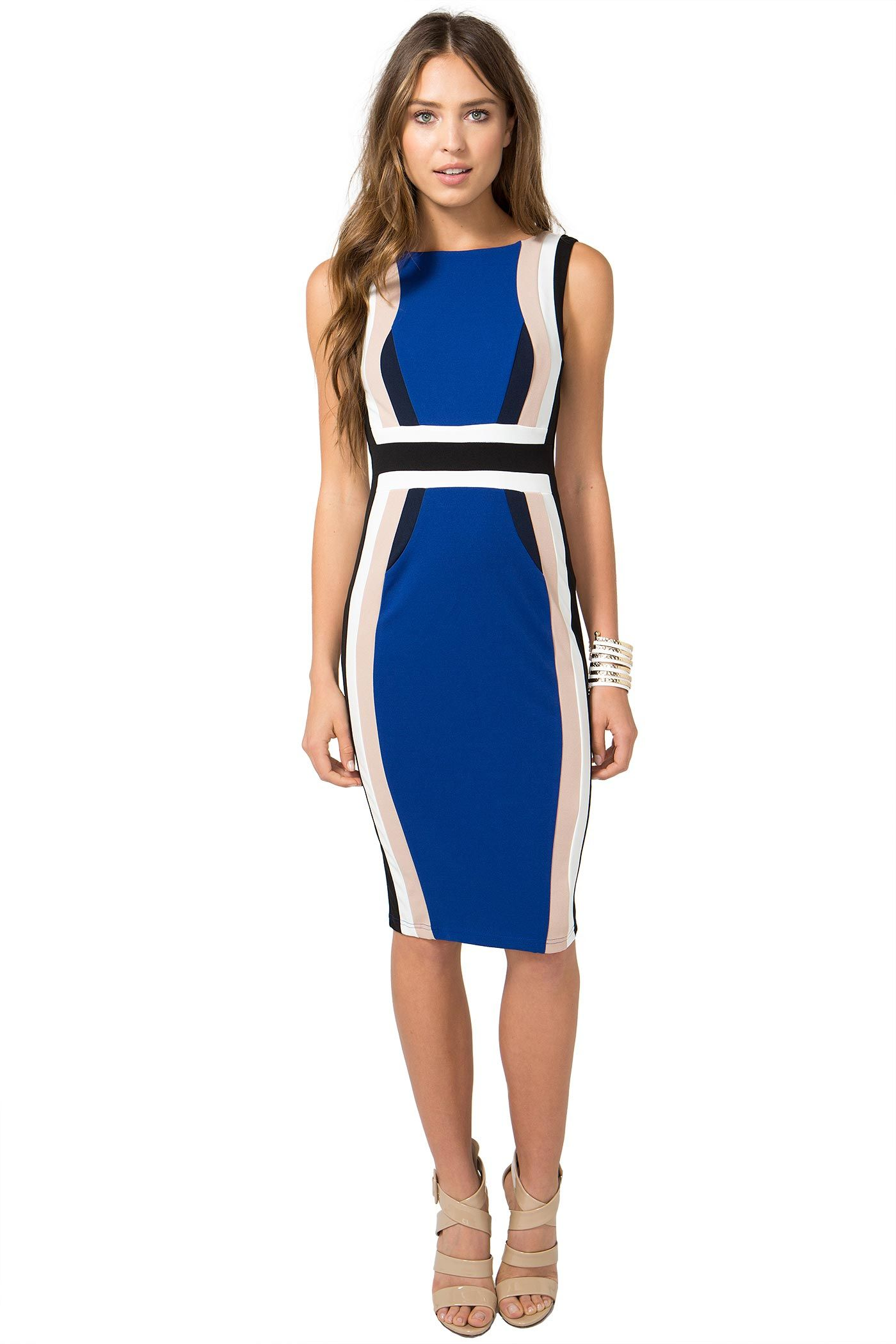 a retro-perfect sheath dress, featuring a colorblocked body, defined