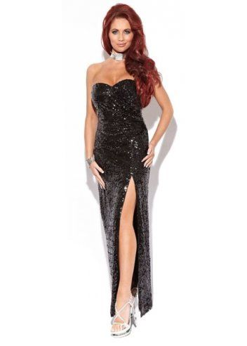 Black sequin bustier maxi dress