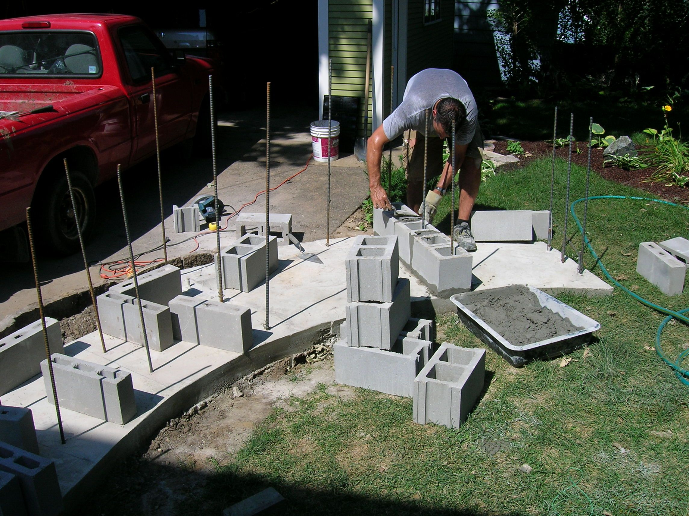 Making Cinder Block Fireplace   Design Idea and Decors ... on Building Outdoor Fireplace With Cinder Block  id=12642
