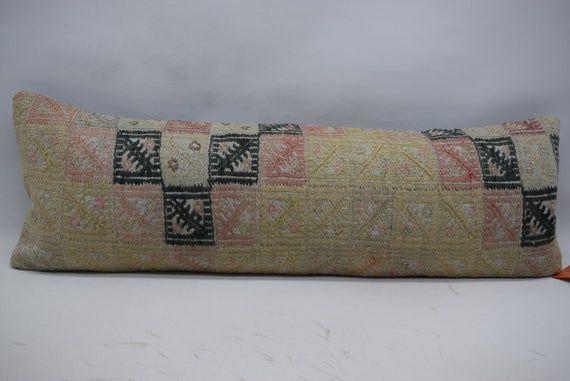 organic kilim pillow - turkey pillow - throw pillow - boho decor - floor pillow 12x36 kilim pillows
