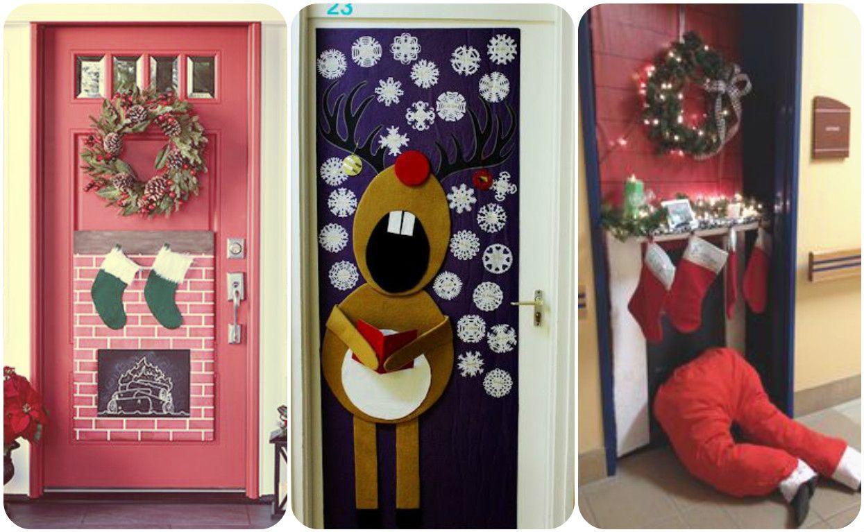 puertas decoradas para recibir la navidad con mucho