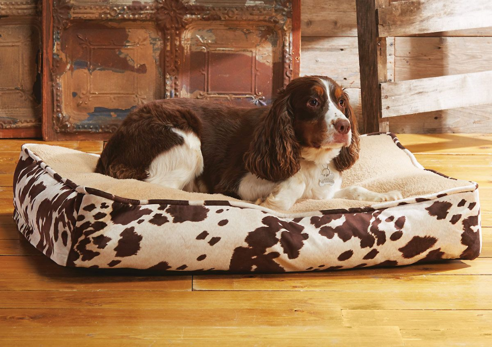 Cowhide Dog Bed Dog bed, Dog house bed, Cowhide decor