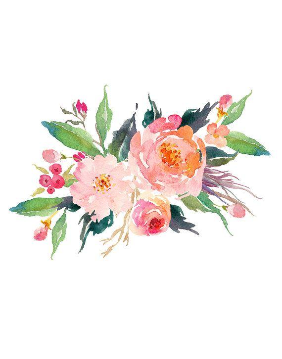 Set of 4 Prints, Floral Nursery Prints, Instant Download ...