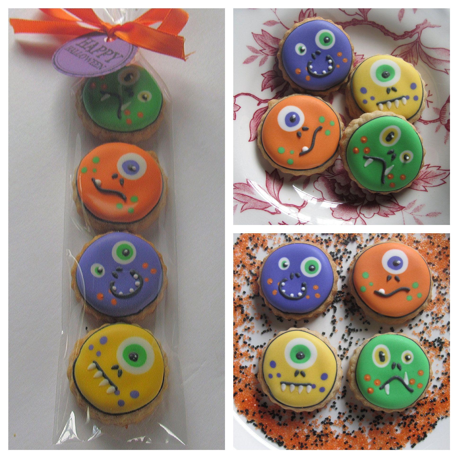 Monster 4-pack cookie bags | Mini Halloween cookie sleeves ...