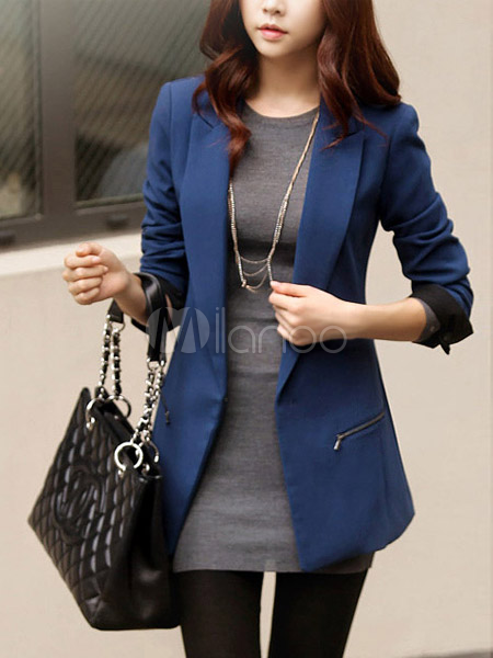 Chic Blue Synthetic Long Sleeves Women's Blazer - Milanoo.com