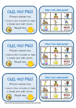 Chill Out Pass New And Updated Design Pretty Teacher School Social Work Resource Classroom