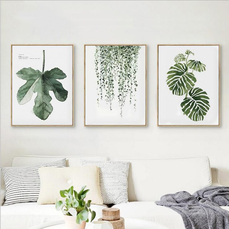 Cheap Canvas Prints Buy Quality Leaf Wall Art Directly From China Wall Art Suppliers Framed Summer Simple Watercolour Green Decor Leaf Wall Art Room Wall Art