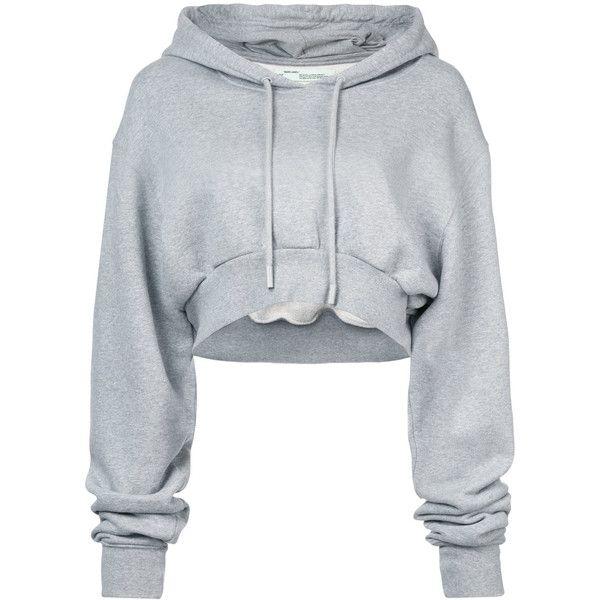 Hoodie Off 381 Crop Simple White tvqa4