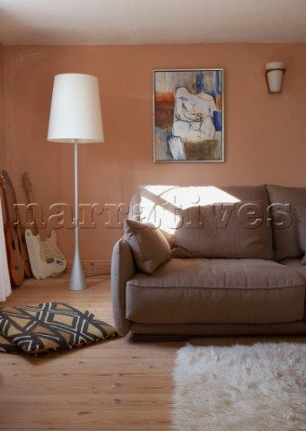 Brown And Peach Furniture Light Brown Sofa In Peach Living Room With Oversized Floorlamp