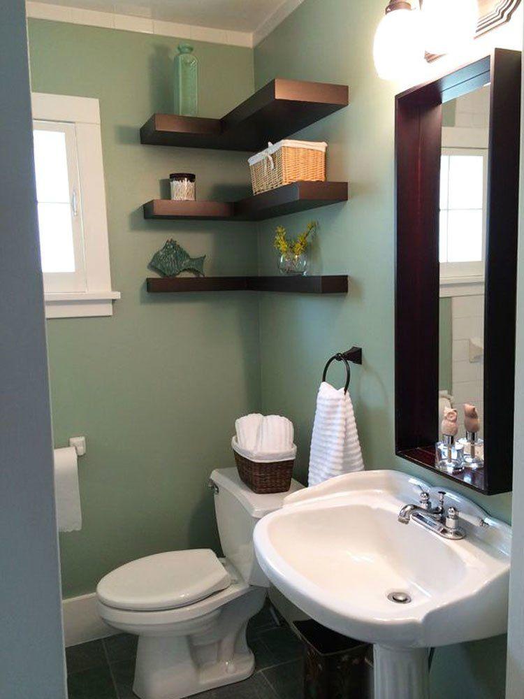 25 Tiny Bathrooms We Love Floating Shelves Tiny Bathrooms Small Bathroom Storage