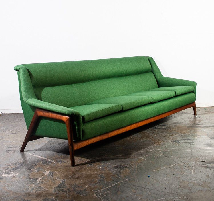 Mid Century Danish Modern Sofa Couch Dux Folke Ohlsson Teak Green