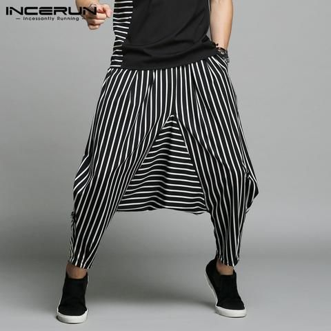 INCERUN Japan Style S5XL Crosspants Men Irregular Striped Patchwork Harem Pants Men's Trousers Big Male Drop Crotch Plus Dance is part of Dance Clothes Hip Hop - Gender MenItem Type Full LengthStyle CasualLength AnkleLength PantsWaist Type MidWaist Size(in inches) 29 940 9Decoration PocketsBrand Name INCERUNFabric Type BroadclothMaterial PolyesterThickness MidweightFit Type LooseModel Number Men Harem Hip Hop Pants Big Size 5XLPant Style Harem PantsClosure Type