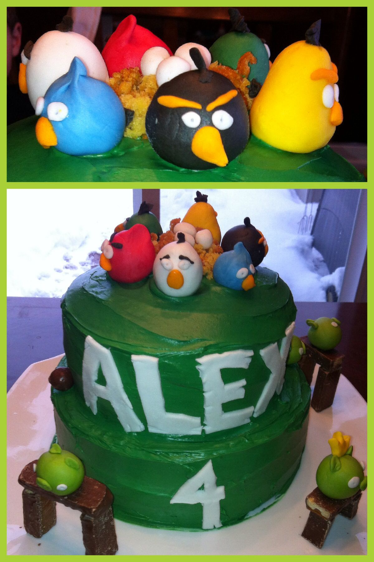Angry Birds cake fondant birds and piggies Twix and fun size kit