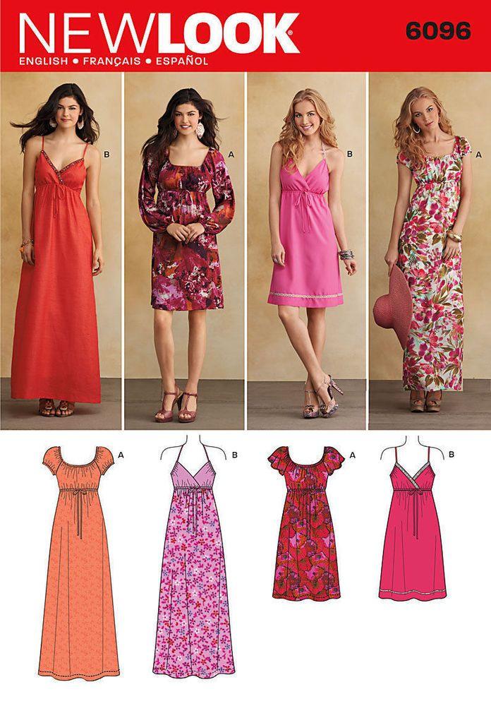New Look 6096 Sewing Pattern Multi Option Maxi or Knee Dress Ladies ...