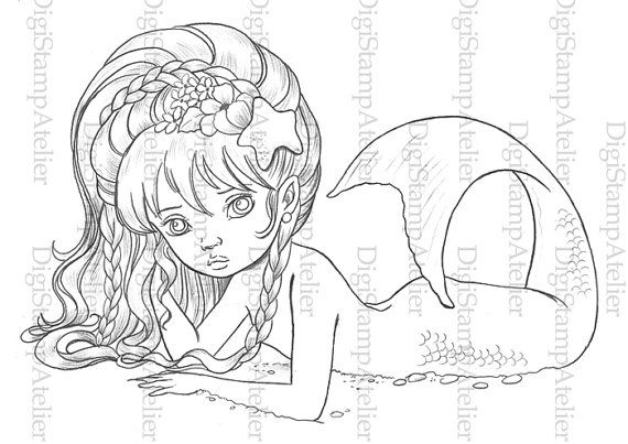 Little Mermaid 2. INSTANT DOWNLOAD Digital Digi Stamps