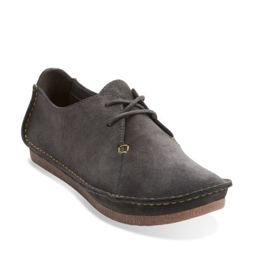 Janey Mae Dark Grey Suede - Clarks Womens Shoes - Womens Heels and Flats -  Clarks
