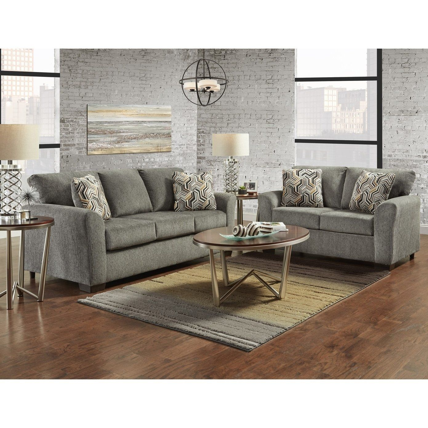 Awe Inspiring Sofatrendz Cariana Grey Sofa Loveseat 2 Pc Set Gray Frankydiablos Diy Chair Ideas Frankydiabloscom