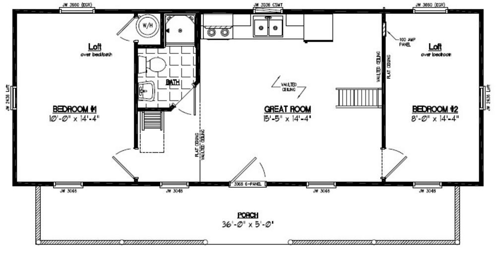 15x40 Cape Cod Recreational Floor Plan 1000