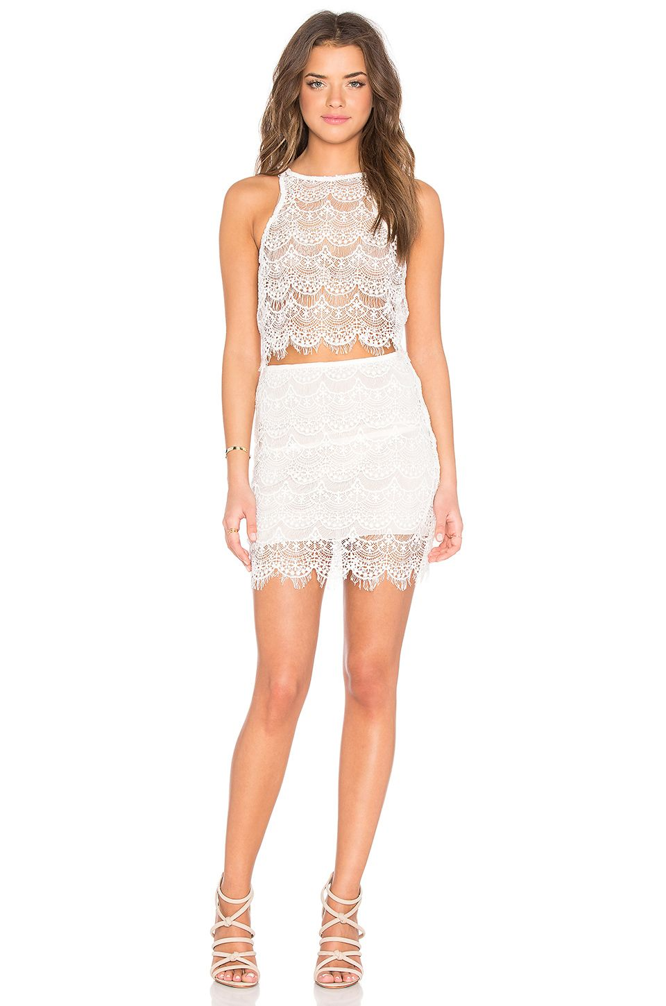 852371d24 Indah Cheryl Lace Mini Skirt in Ivory | REVOLVE | Clothes | Lace ...