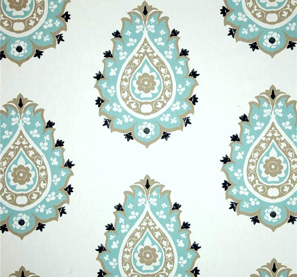 Aqua Blue & Taupe Damask Cotton Drapery Fabric by by CottonCircle ...