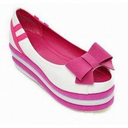 $19.37 Casual Women's Platform Shoes With Bowknot and Peep Toes Design