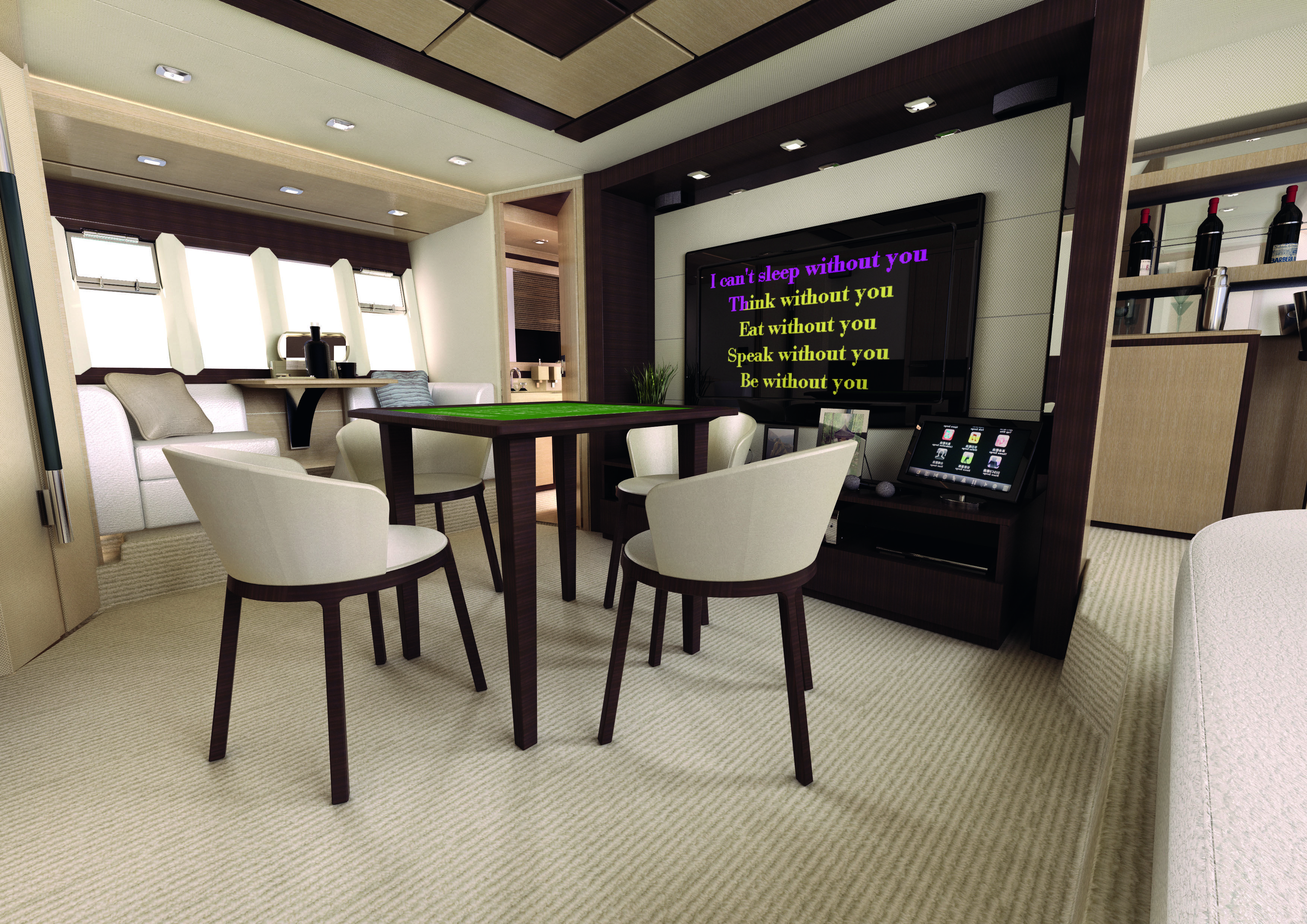 Yacht interior design azimut 70 dragon mahjong room for Table design yacht