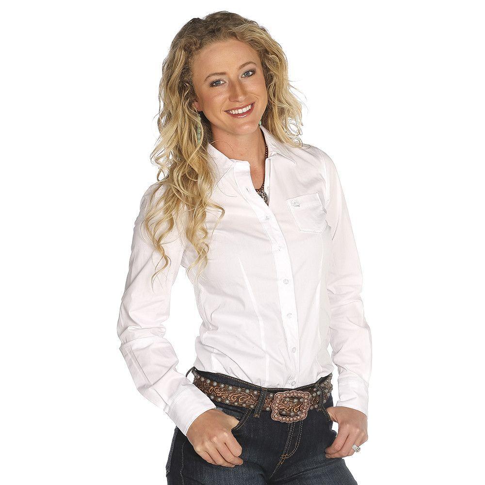 Cinch womens white button down shirt msw9164026