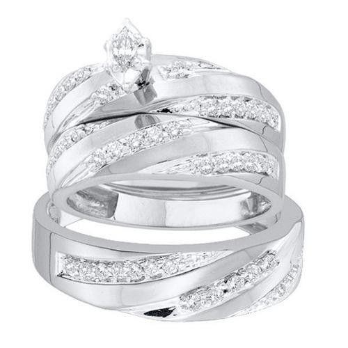 14K White-gold 0.78CT DIAMOND MARQUISE CENTER TRIO SET