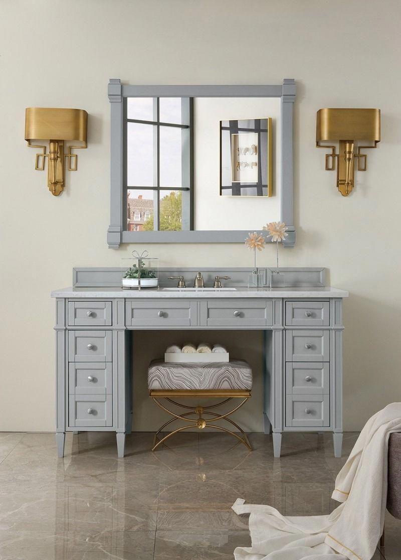 Brittany 60 Single Sink Ada Bathroom Vanity Cabinet Urban Gray Finish Matching Mirror Transiti Bathroom Vanity Single Bathroom Vanity Bathroom Furniture