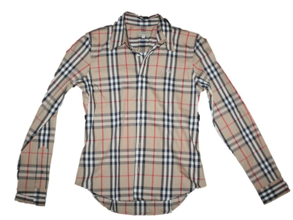 Men Burberry Nova Check Tan Plaid Buttondown Shirt Long Sleeve ...
