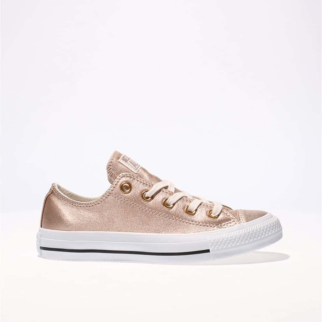 3e65ee4cc729 womens rose gold converse all star metallic leather ox trainers ...