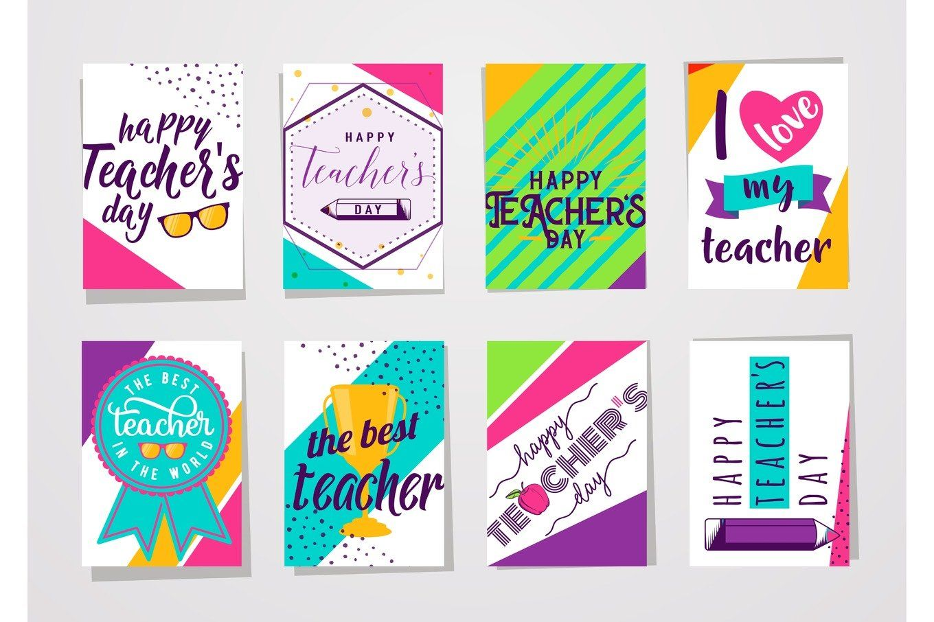Vector illustration of color happy teachers day lettering typography card set by Zaie on @creativemarket #teachersdaycard