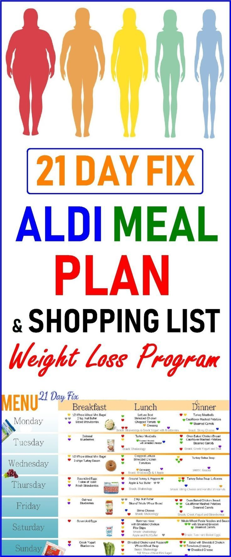 21 Day Fix ALDI Meal Plan and Shopping List  Weight Loss Program