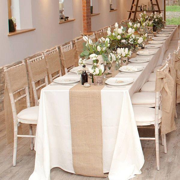 Hessian Jute Burlap Ribbon Vintage Wedding Table Runner Chair Sash Decoration