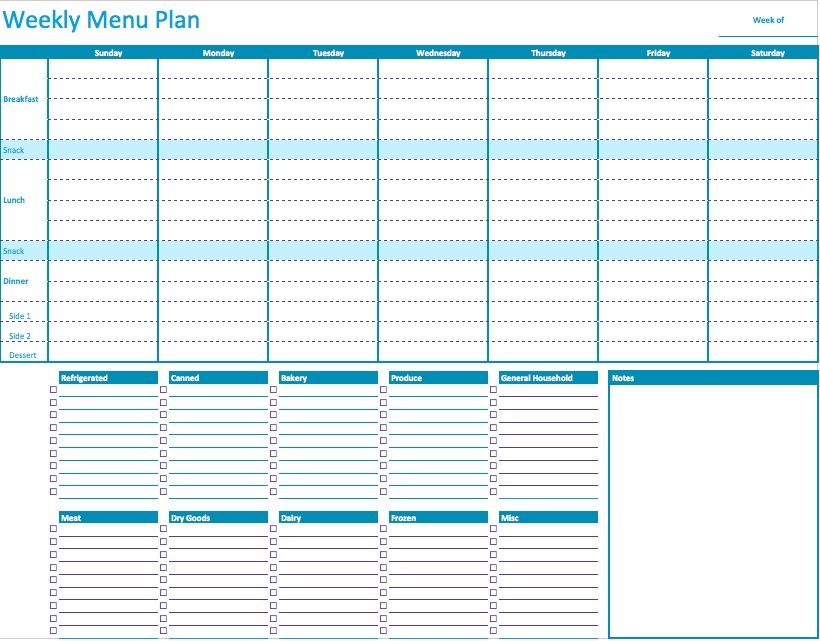 free weekly menu templates