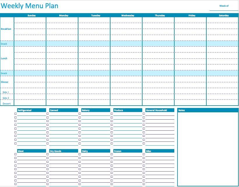 weekly menu planner template for numbers printables pinterest