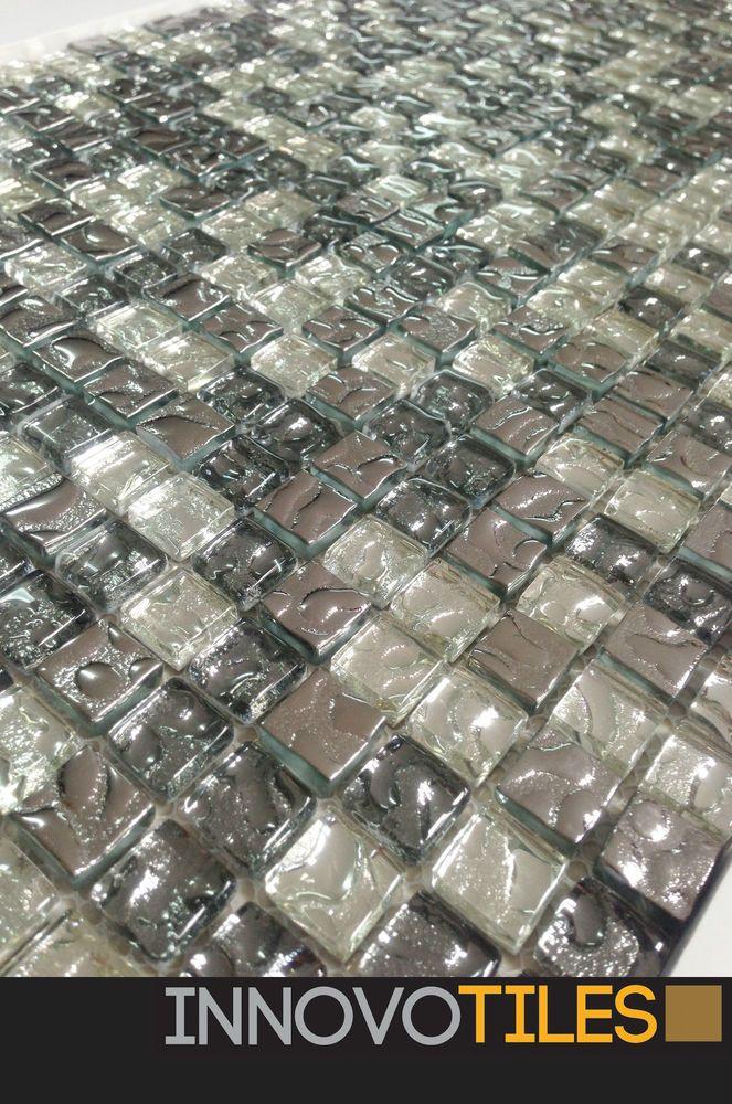 Innovo Chrome Gl Feature Mosaic Tiles Bathroom Wall Floor Kitchen Splashback