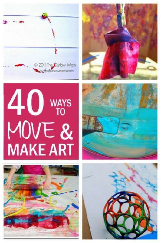 40 'Big Art' Fun Art Projects for Kids  hands on  as we grow is part of Little Kids Crafts Art Projects - Make fun art projects for kids by making art bigger and with movement  It makes it easier to little ones to do, not to mention so much fun!