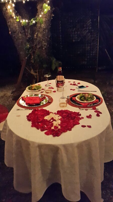 Romantic Dinner For Two Recipes: Romantic Dinner. Outdoors. Romantic Table Set, Red And