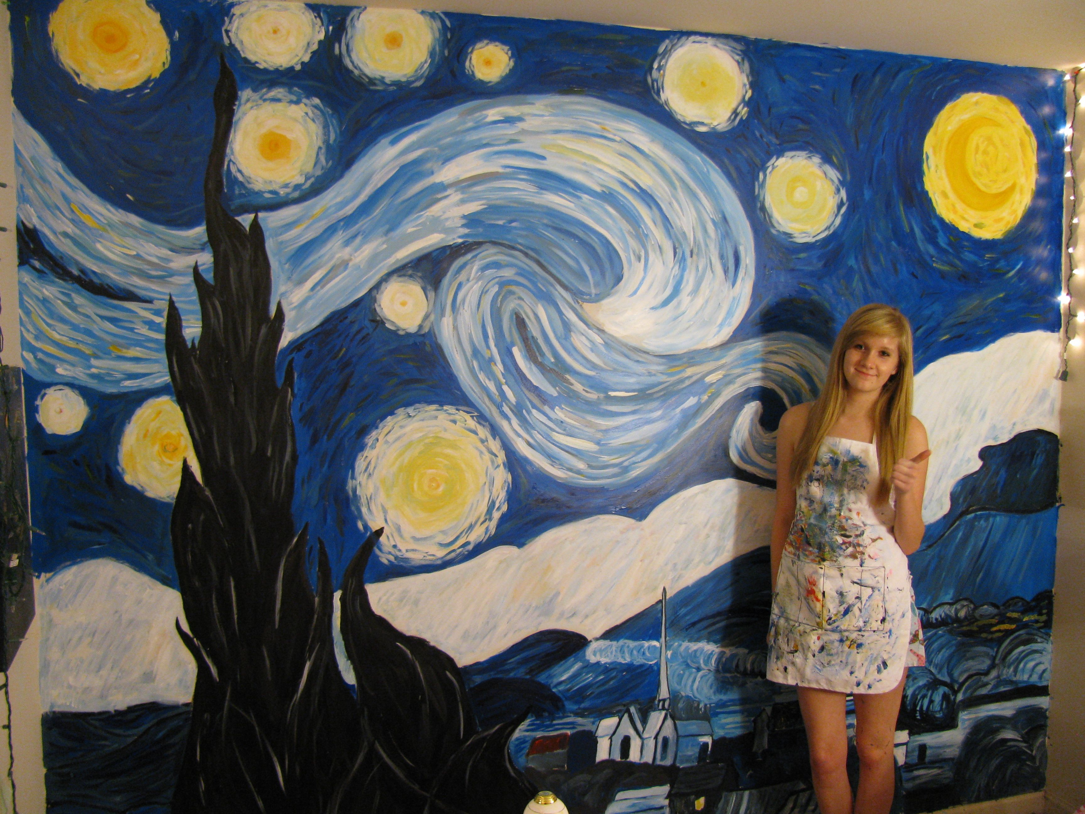 my daughter u0027s rendition of starry night painted on her bedroom