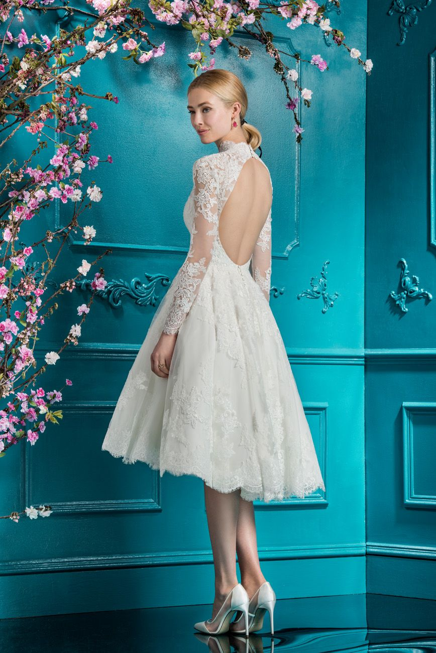 Ellis Bridals Vintage Inspired Wedding Dress 11763 With High Neck