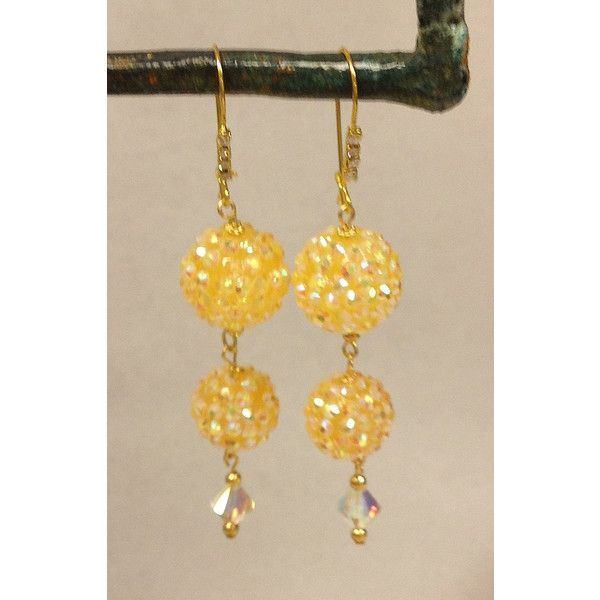 Sparkling Yellow Drop Earrings by BUNNY123 on Etsy via Polyvore