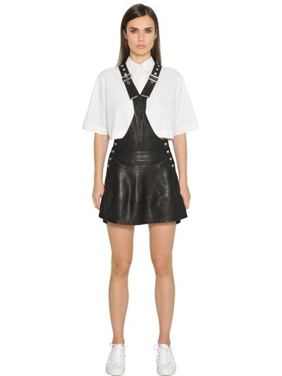 DIESEL BLACK GOLD NAPPA LEATHER OVERALL DRESS