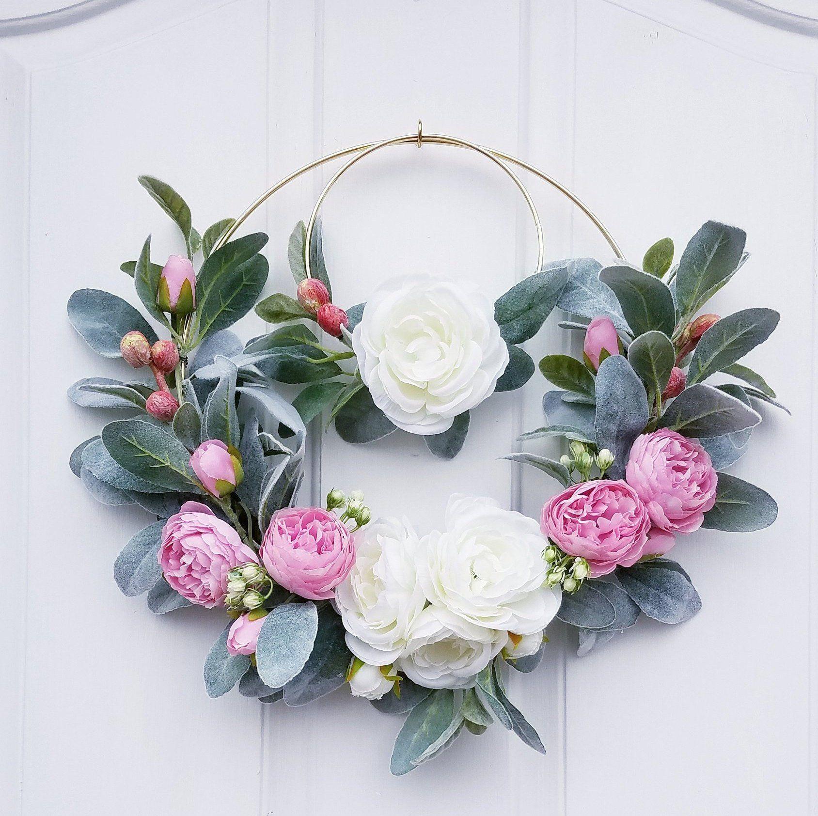 Wreath Set for Nursery Modern  Hoop Wreaths Nursery Wreaths Pink