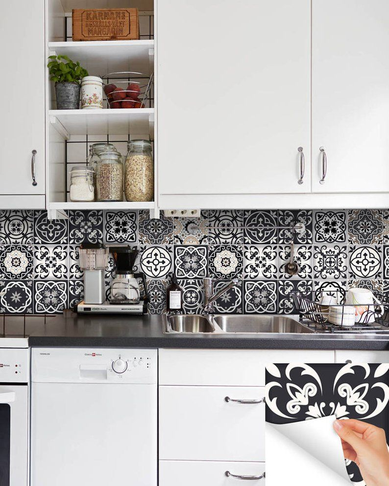 Black White Tile Decals Tile Stickers Kitchen Deals Bathroom