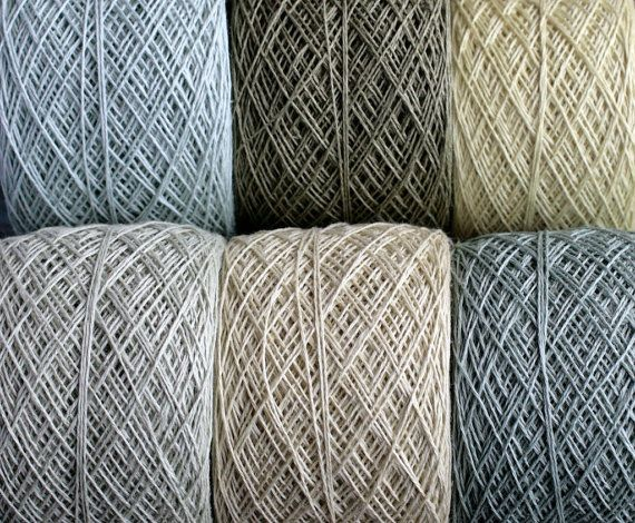 Linen yarn thread -- six balls -- pale green -- 3-ply   Feine Garne ...