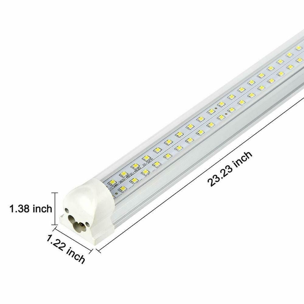 Led Tube Light T8 Integrated 2ft 20w Dual Row Fluorescent Blubs Lamp For Shop Fixture 5000k Led Bulbs Tubes Led Tubes Led Fluorescent Led