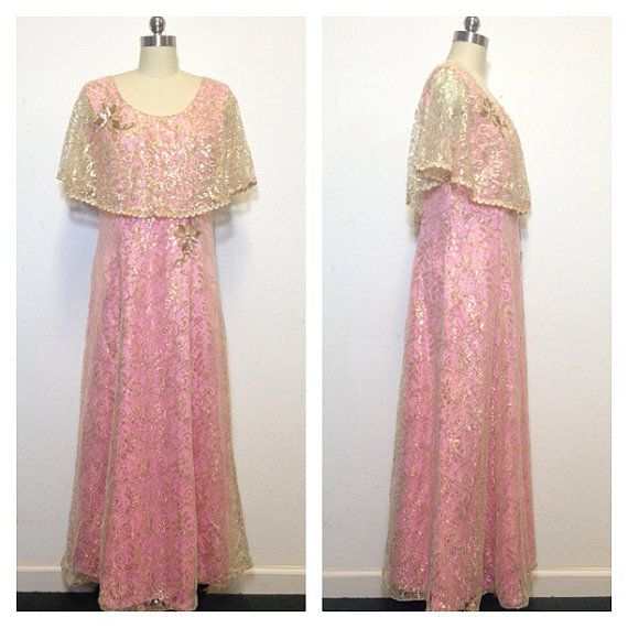 Vintage 60s / Pink And Gold Lace / Evening Gown / Prom