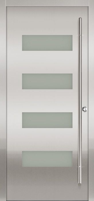 Milano 14 Stainless Modern Exterior Door By Milano Doors